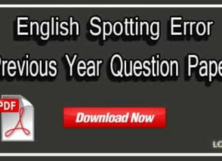 English Spitting Error Previous Year Question Paper