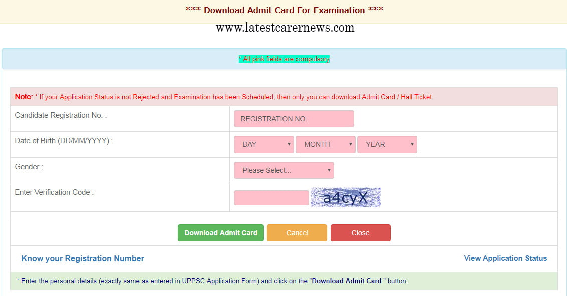 Download UPPSC RO ARO Admit Card