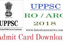 UPPSC RO ARO Admit Card