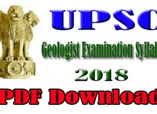 UPSC Geologist Examination Syllabus 2018