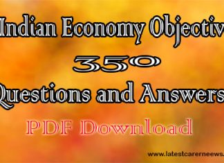 350 Indian Economy Objective Questions and Answers PDF Hindi