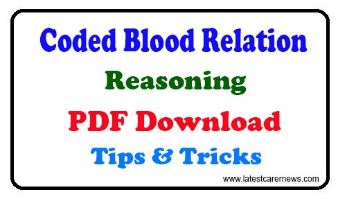 Coded Blood Relation Reasoning Tricks PDF