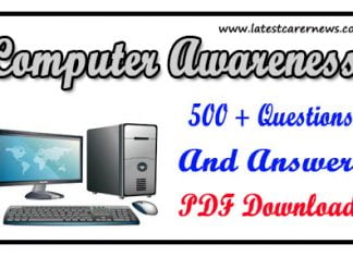 Computer Awareness Questions and Answers PDF