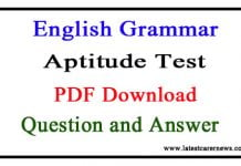 English Grammar Aptitude Test Question and Answer