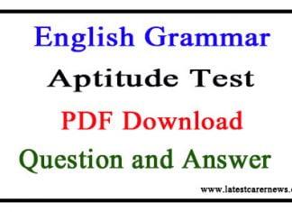 English Grammar Aptitude Test Question and Answer