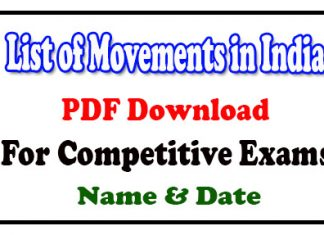 List of Movements in India