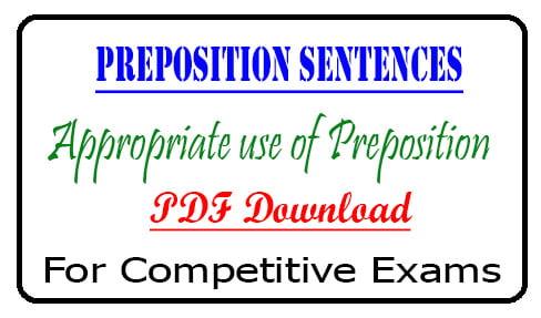 Preposition Sentences