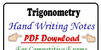 Trigonometry Hand Writing Notes