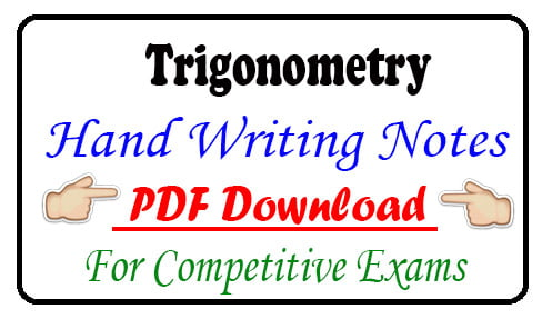 Trigonometry Hand Writing Notes