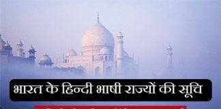 भारत के हिन्दी भाषी राज्यों की सूचि