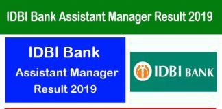 IDBI Bank Assistant Manager Result 2019