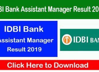 IDBI Bank Assistant Manager Result 2019