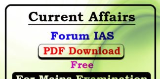 Current Affairs for Mains 2019