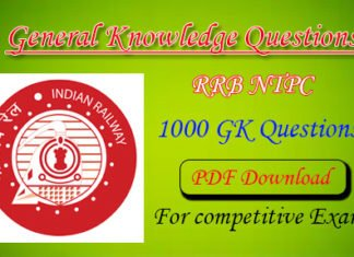 RRB NTPC 1000 General Knowledge Question