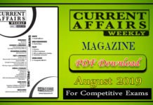 Weekly Current Affairs August 2019
