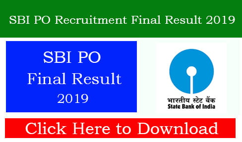 SBI PO Recruitment Final Result 2019