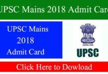 UPSC Mains 2018 Admit Card