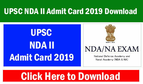 UPSC NDA II Admit Card 2019 Download