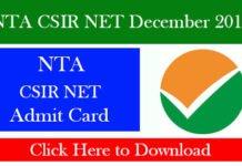 NTA CSIR NET December 2019