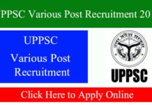 UPPSC Various Post Recruitment 2019