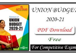 Summary of Union Budget 2020