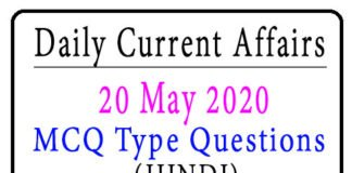 20 May 2020 Current Affairs