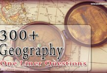 Geography One Liner Questions