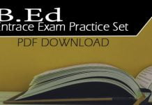 B.Ed Entrace Exam Practice Set