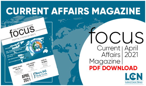 Focus Monthly Current Affairs Magazine April 2021 PDF