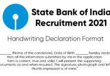 Handwriting Declaration For SBI